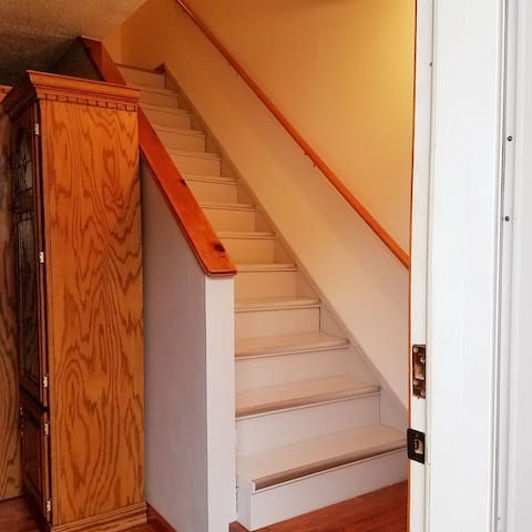 Stairs to Bedroom and Bathroom
