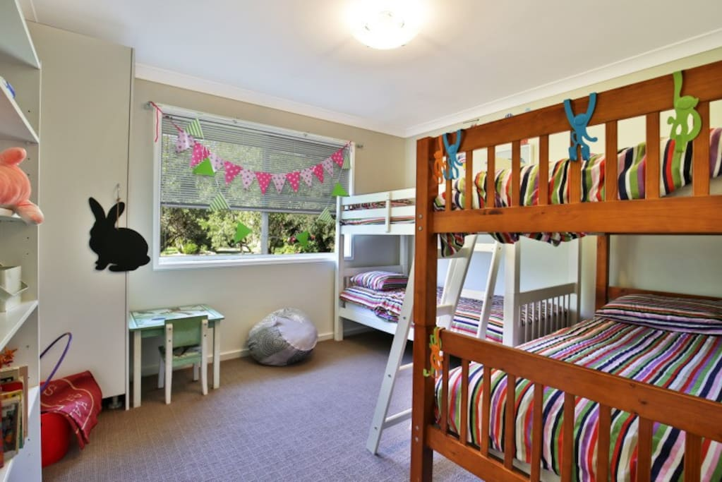 4 bunks beds and lots of kids toys and books....great for adults too