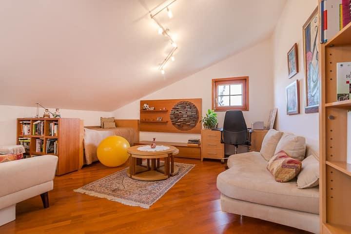 Entire upper floor, w/ bedroom, mezzanine and w/c