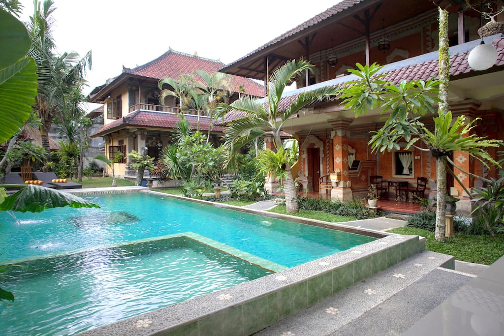 Swimming pool and two dual-level buildings completed in Balinese architecture