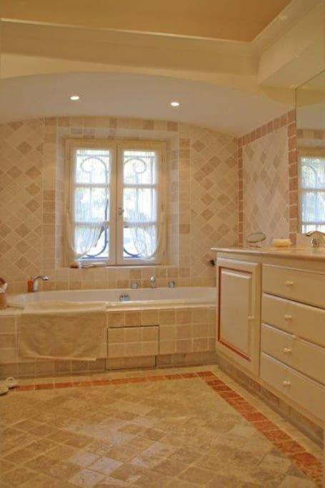 Grande salle de bain privative, baignoire, douche à l'italienne et WC