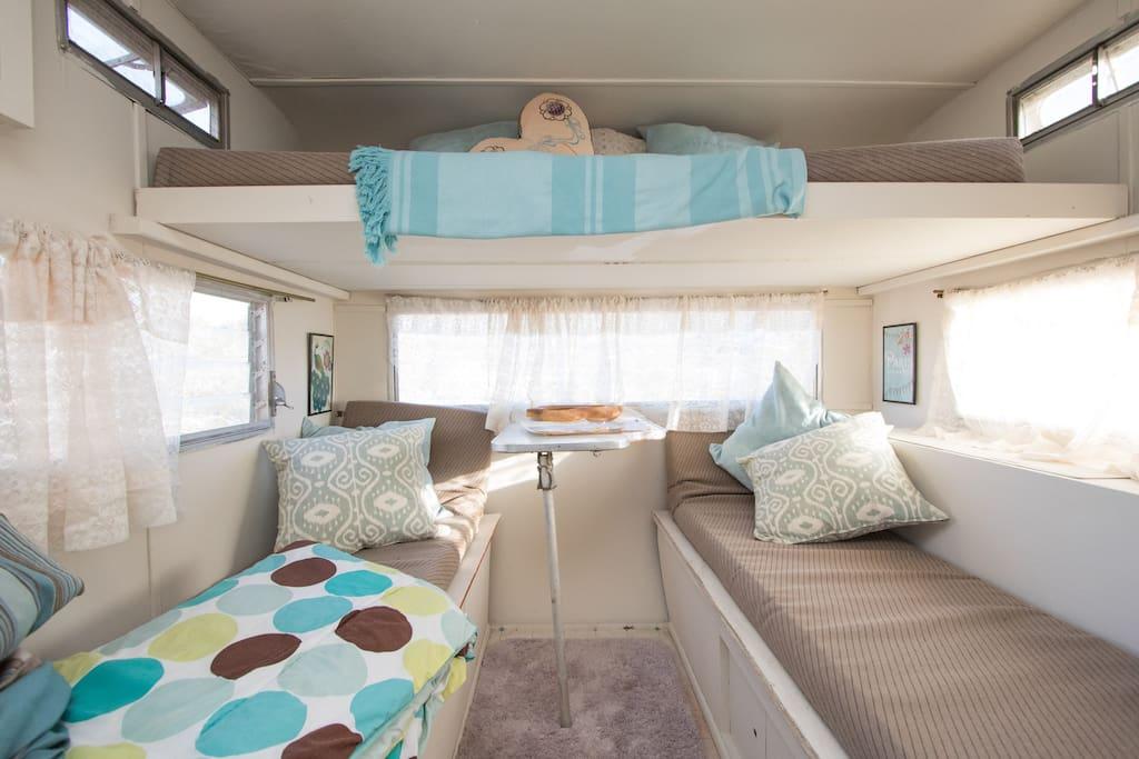 inside the vintage caravan