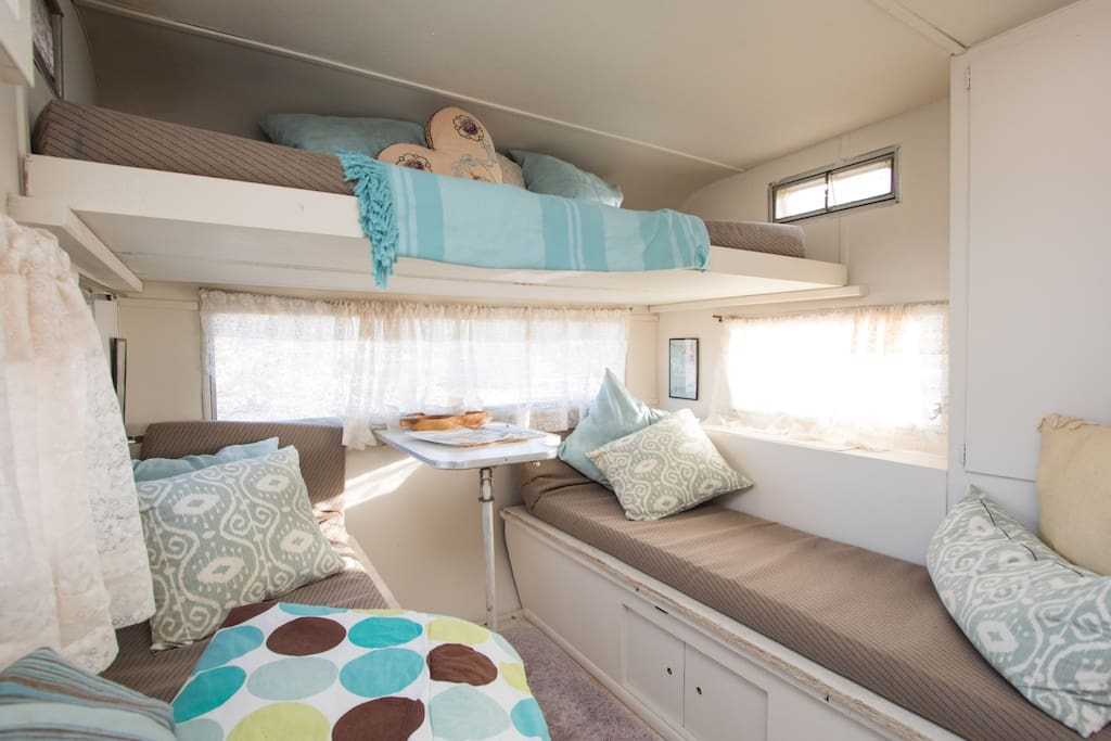 sleeps two on lower bunks   lower can be one queen bed