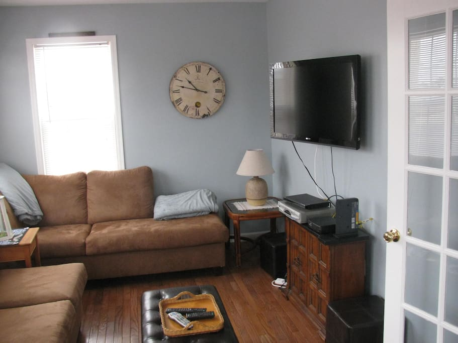 Living Room with wide screen television.