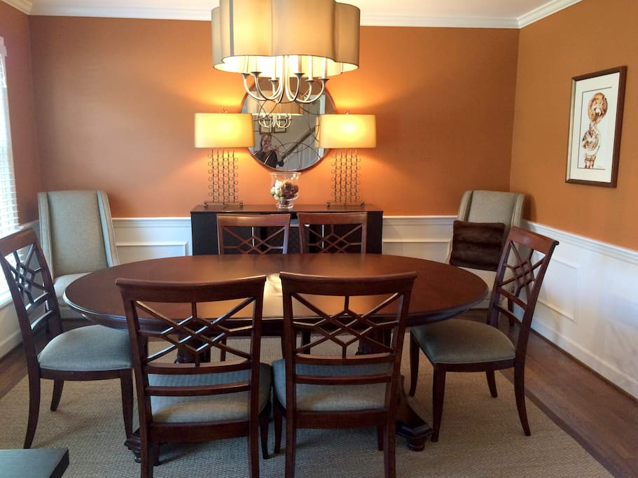 Dining room table expands to fit 8
