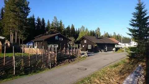 Tømmerhytte nær Sjusjøen og Lillehammer