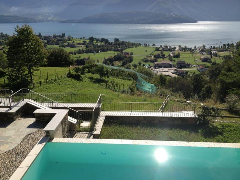 The swimmingpool lake view
