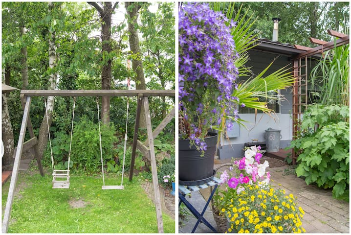 cottage,studio in garden with pool.