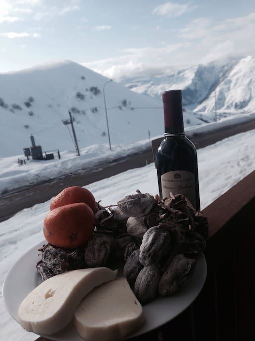 You can enjoy a breakfest or а glass of red georgian wine, sitting on a balcony