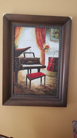 Do you play the piano? Living room art for your eyes enjoyment. What's your favorite color? I love orange.