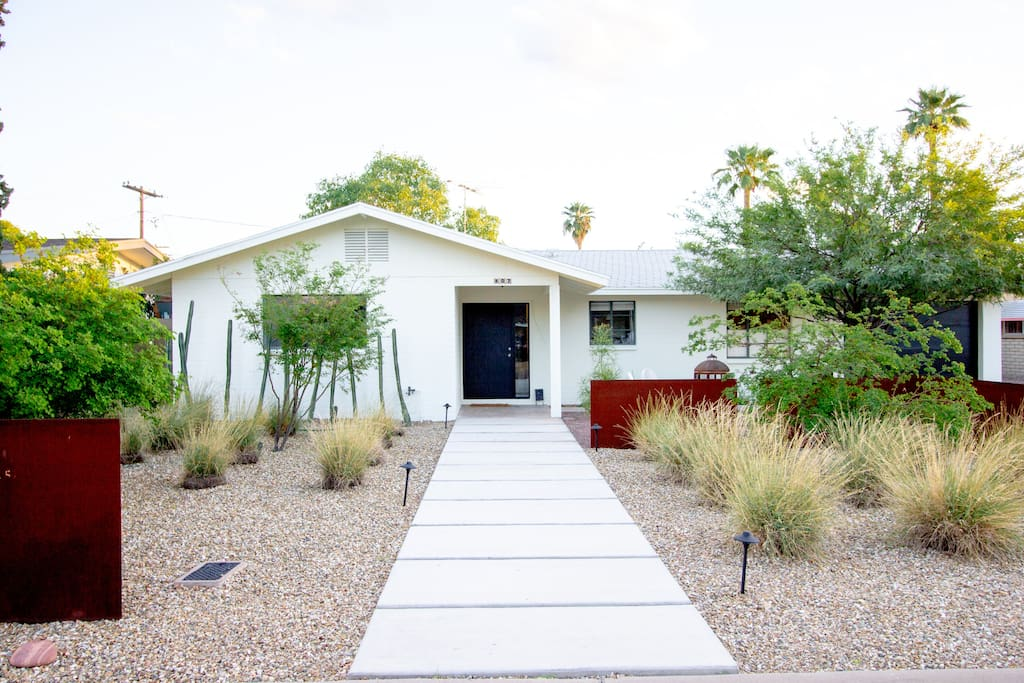 Xeriscape gardening creates a modern feel and uses less water.