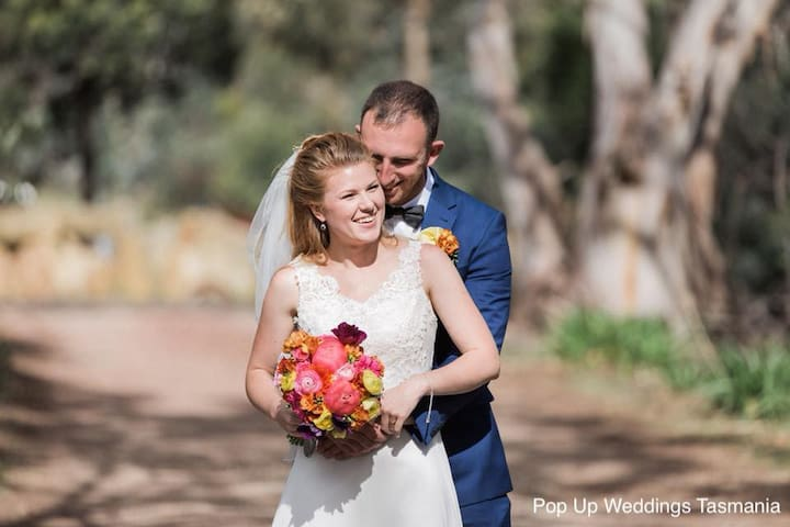 Perfect for weddings, events, and celebrations. Photo courtesy of Popup Weddings Tasmania.           If you wish to discuss an event call Rob 0409399214.   Prior to booking.