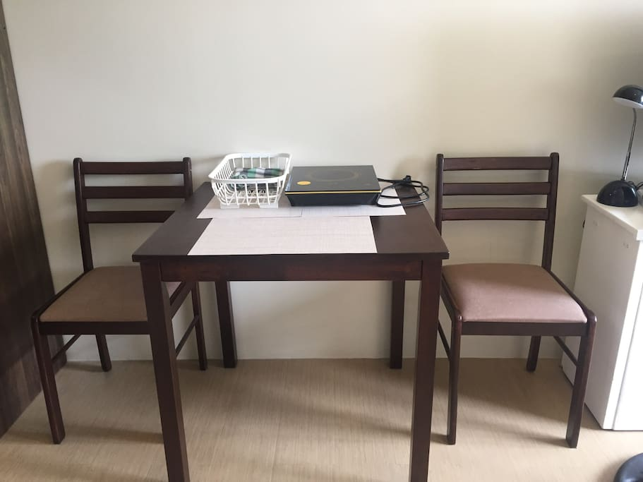 Our dining set for two (or three since the ottoman box can be used as an additional seat).
