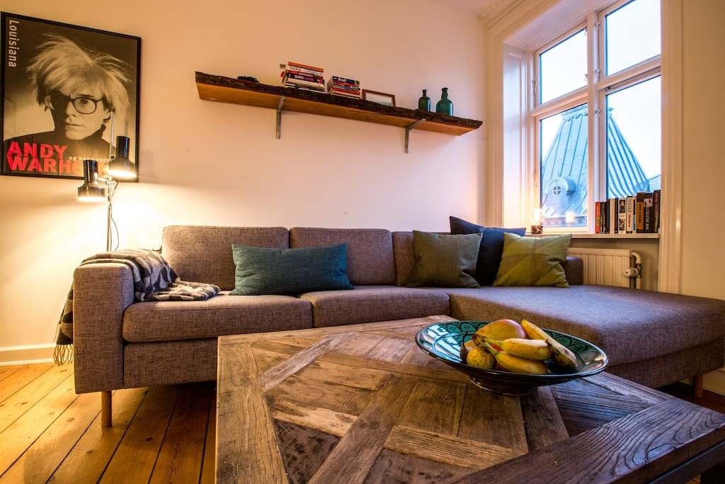 Couch and coffee table in living room