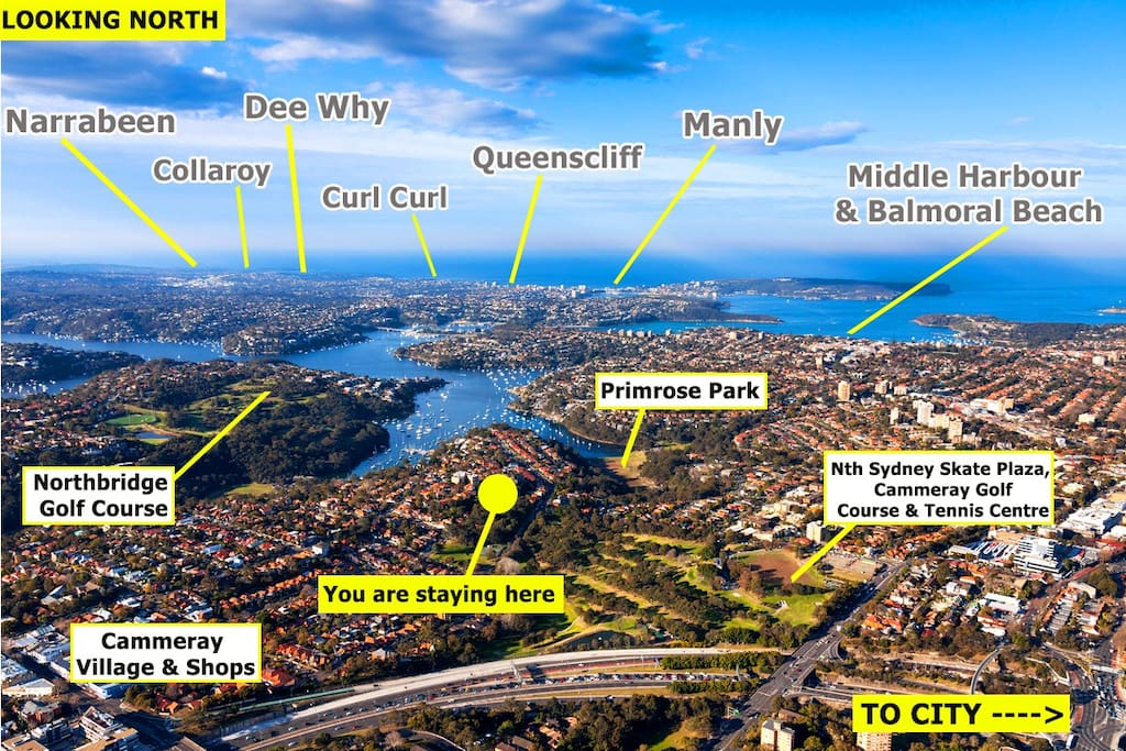 Here is where Cammeray is in relation to all things Sydney (looking east)