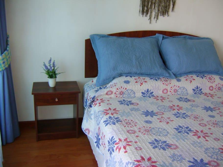 Dormitorio con cama queen