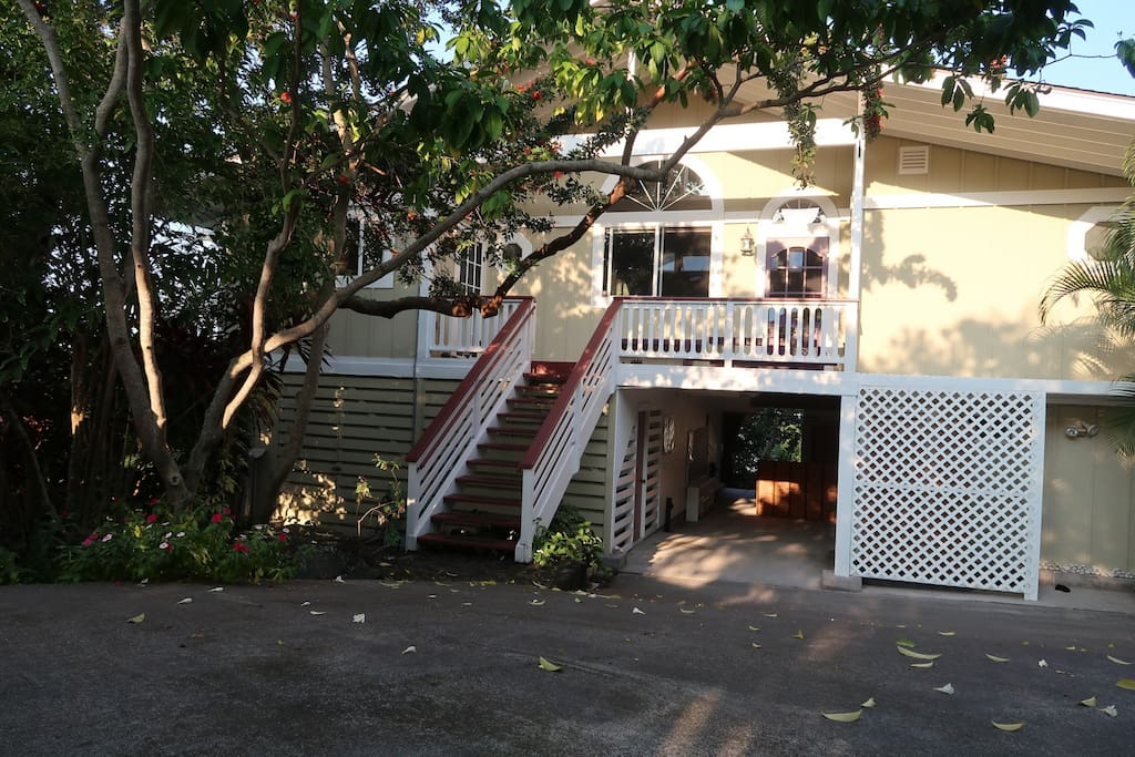 Front of house with stairs up to Ohana