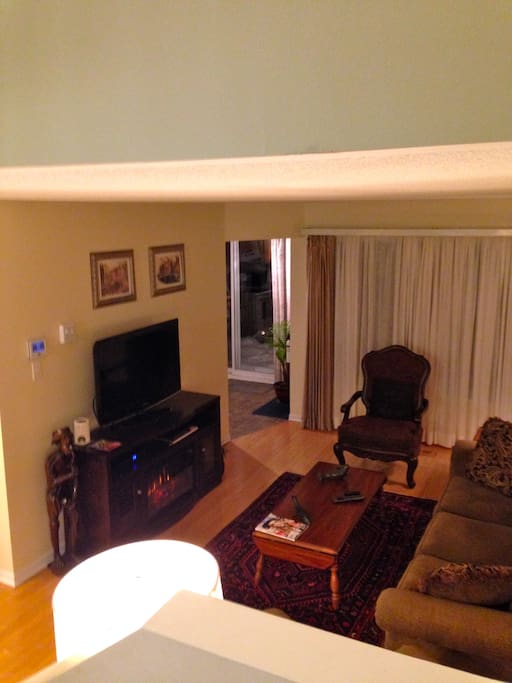 View of Livingroom with fireplace glowing