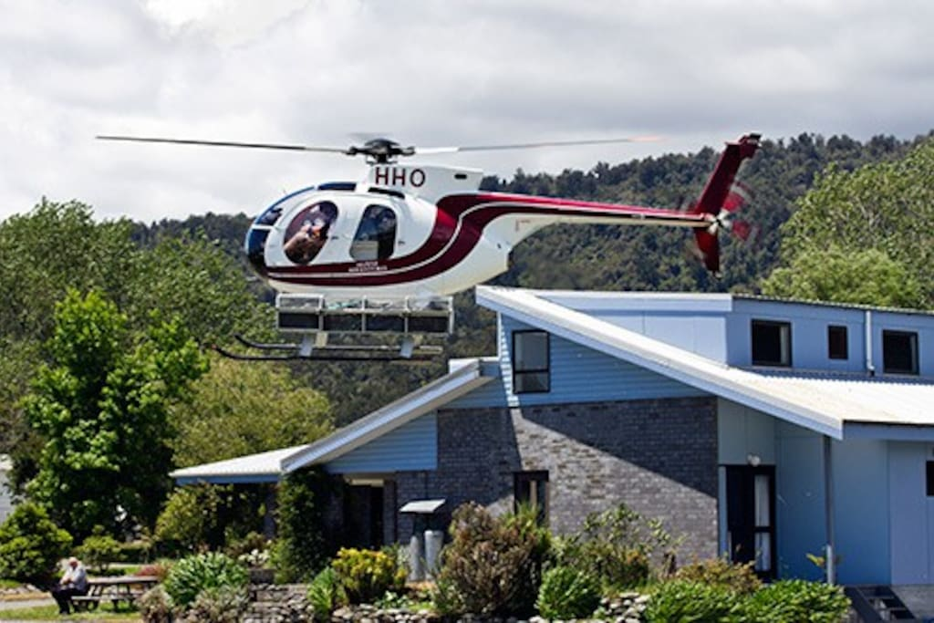 A helicopter landing pad is available