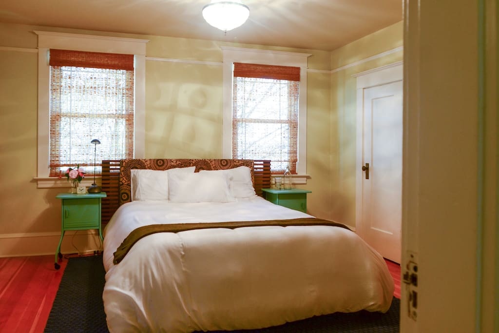 This queen-sized bed fits two adults. It's located on the second floor with a great view.