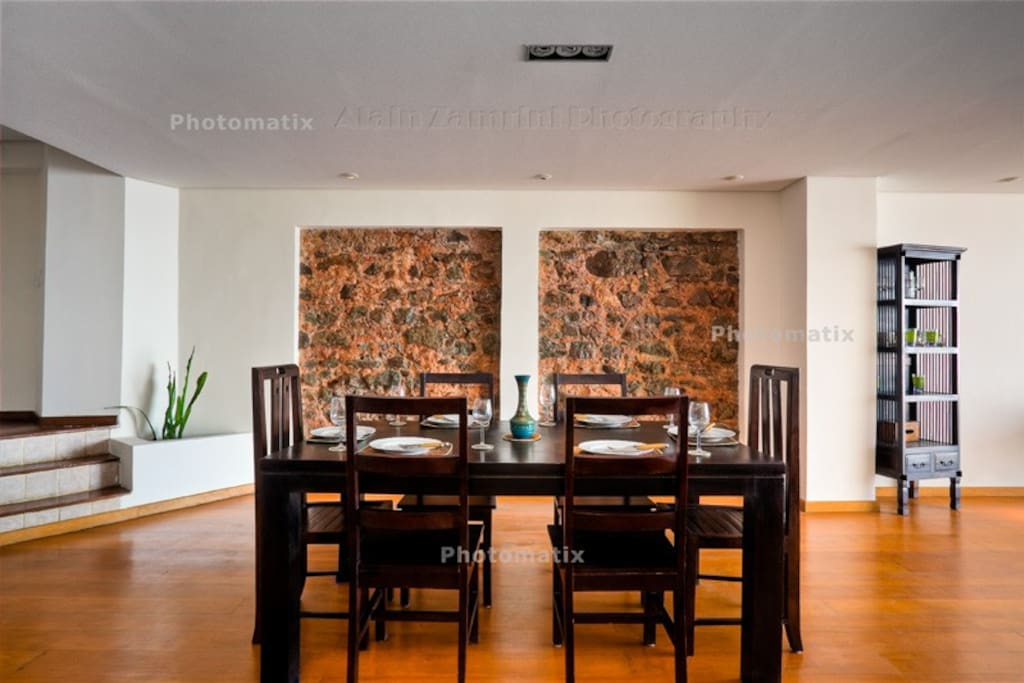 dining area is an extension of the living room space