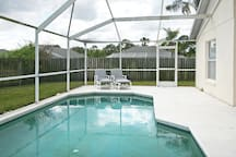 Private south facing swimming pool.