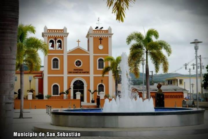 Fountain at the Main Plaza,  Church, San Sebastian, 2 minute walk from
