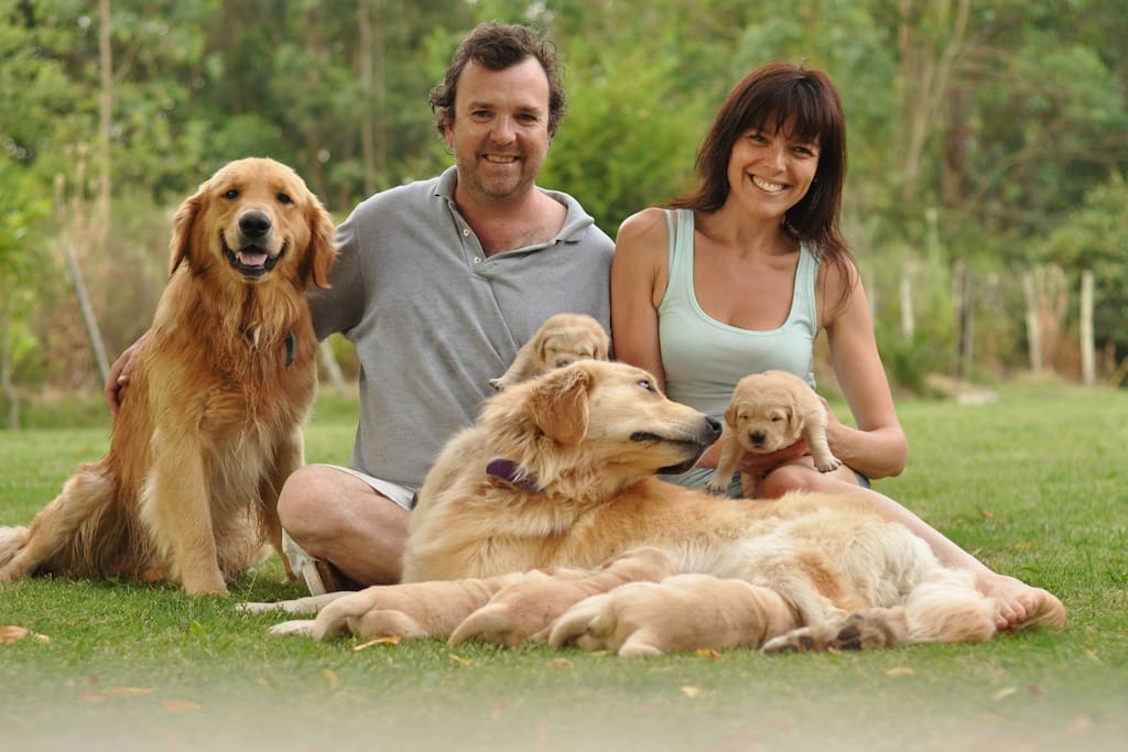This is me,  Rocio and our 2 golden retrievers; We live next door;  Puppies are long gone...