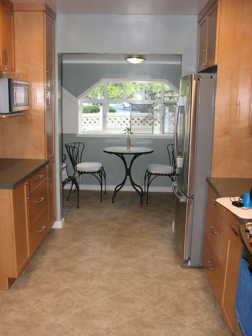 In kitchen eating area