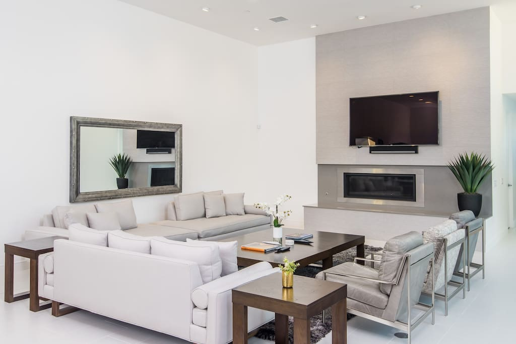 Modern Family Room with Ample Seating