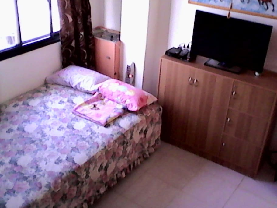 A/C room with satellite tv, real double bed and fridge (area 14 sq. meters).