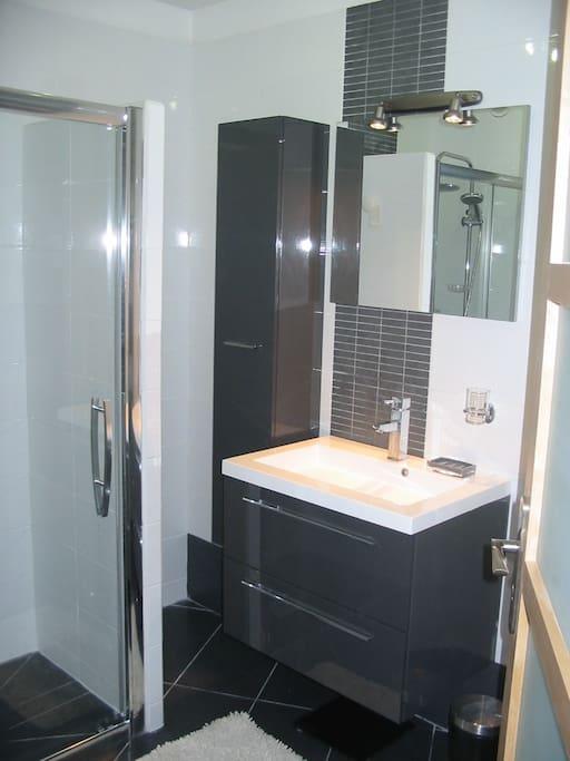 Jolie salle de bain avec douche à l 'Italienne