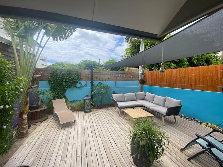 Le Flamant bleu Maison cosy 20m lagon / plage