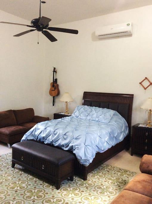Comfy bed in Guest's room. HUGE room#2