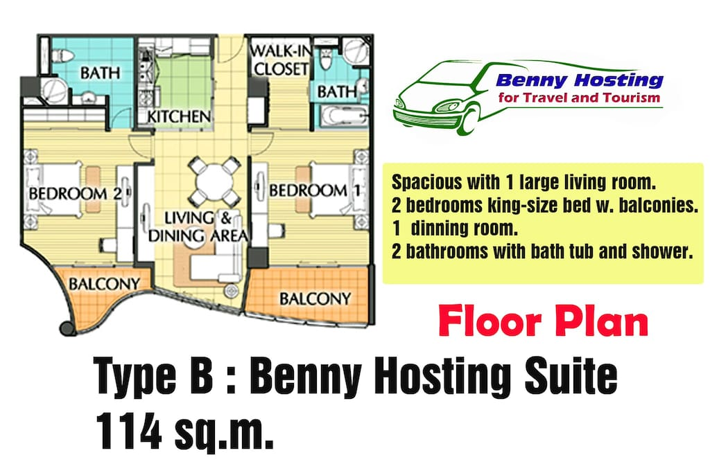 2-Bedroom, and 2-Bathroom Floor Plan.