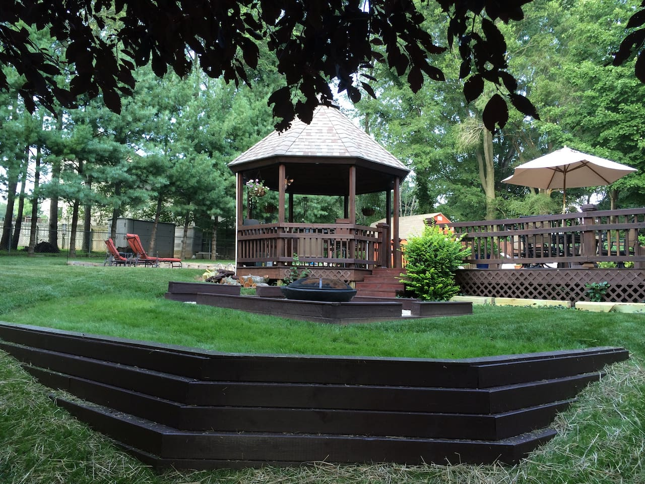 Step out to our deck, gazebo.