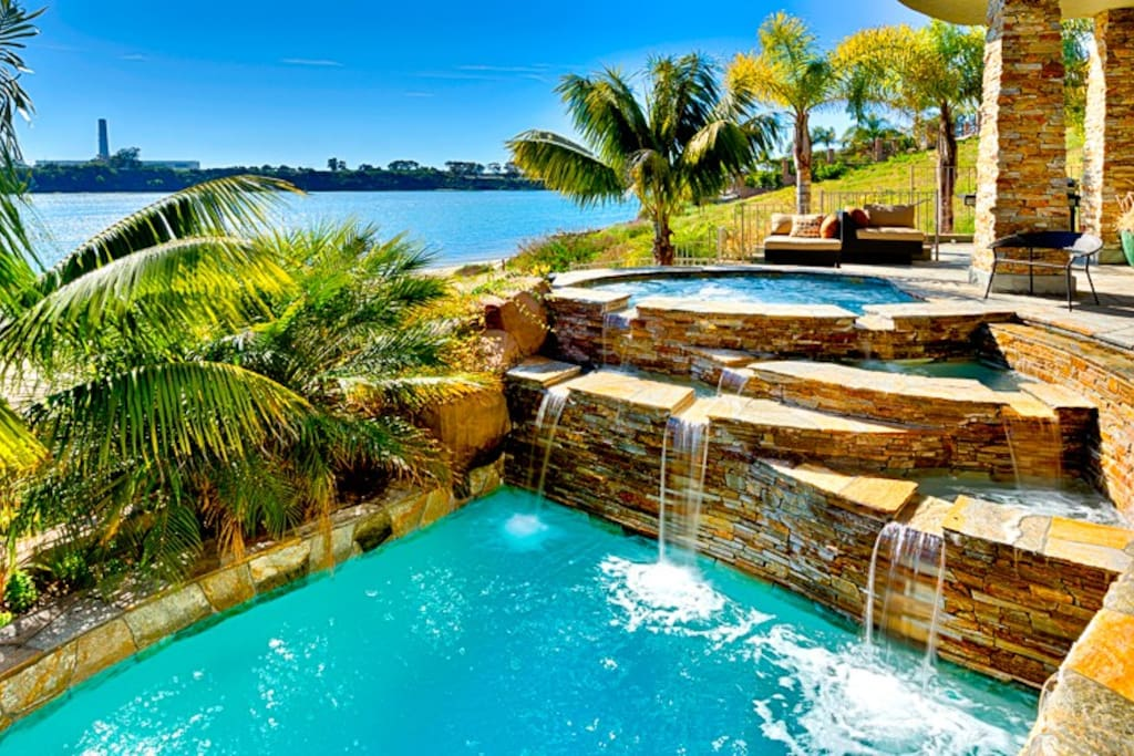 Resort style pool and hot tub