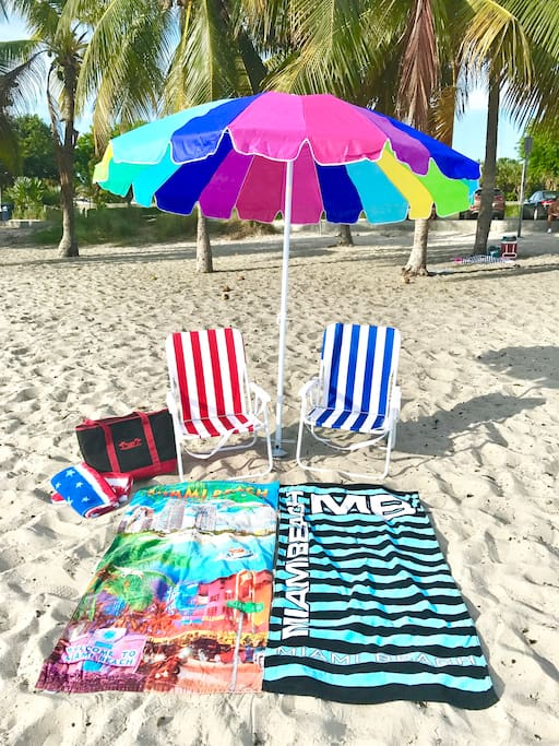 Beach chairs, beach umbrella, beach bag, and beach towels! Everything you need for fun in the sun.