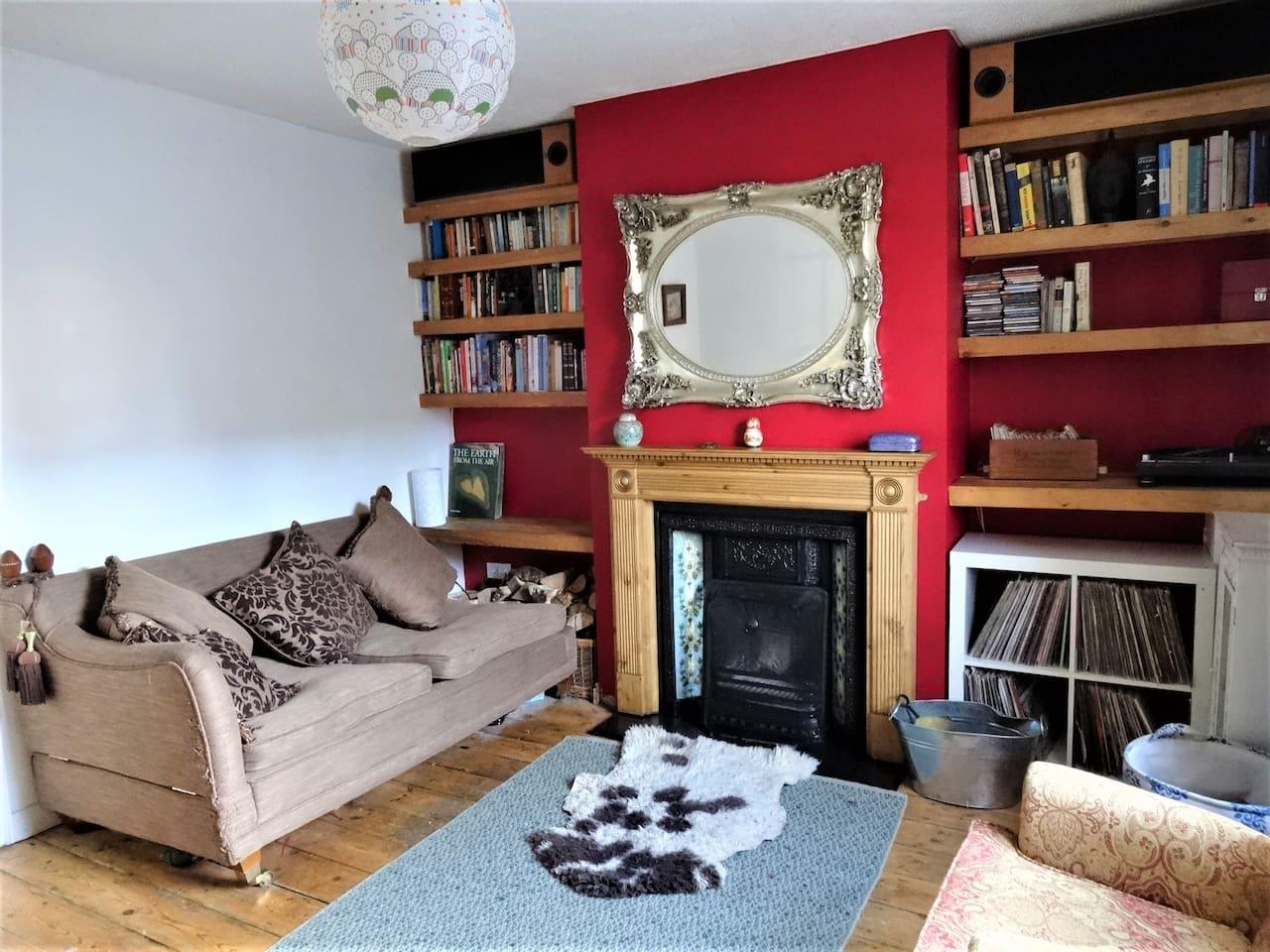 Living room, open fire.