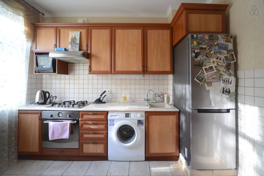 Fully equipped Kitchen with a/c,  microwave, gas oven-top, electric oven, washer, fridge and freezer, kitchen table, plates, cups, glasses, cutlery, mixer, juicer, coffee grinder, blender, yogurt maker