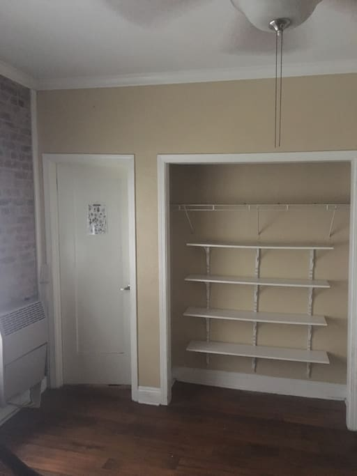 Shelves in former murphy bed