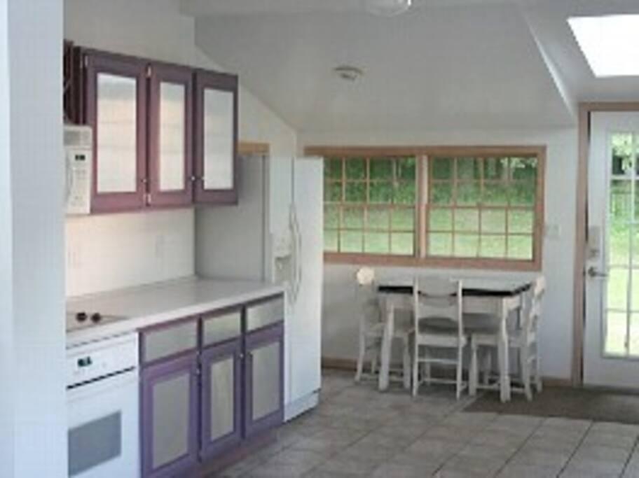 Kitchen looking toward backyard
