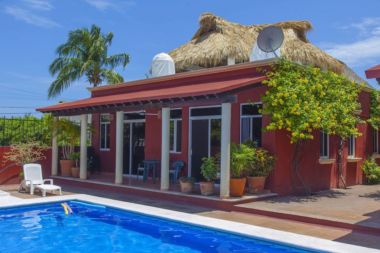 Patio and pool. The pool is shared with only 5 other casitas. The casita has no shared walls.