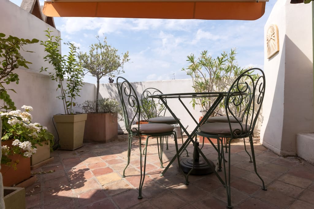 Private rooftop terrace overlooking the old city center