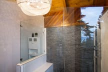 Master Suite bathroom - there is even a lake view while you shower!