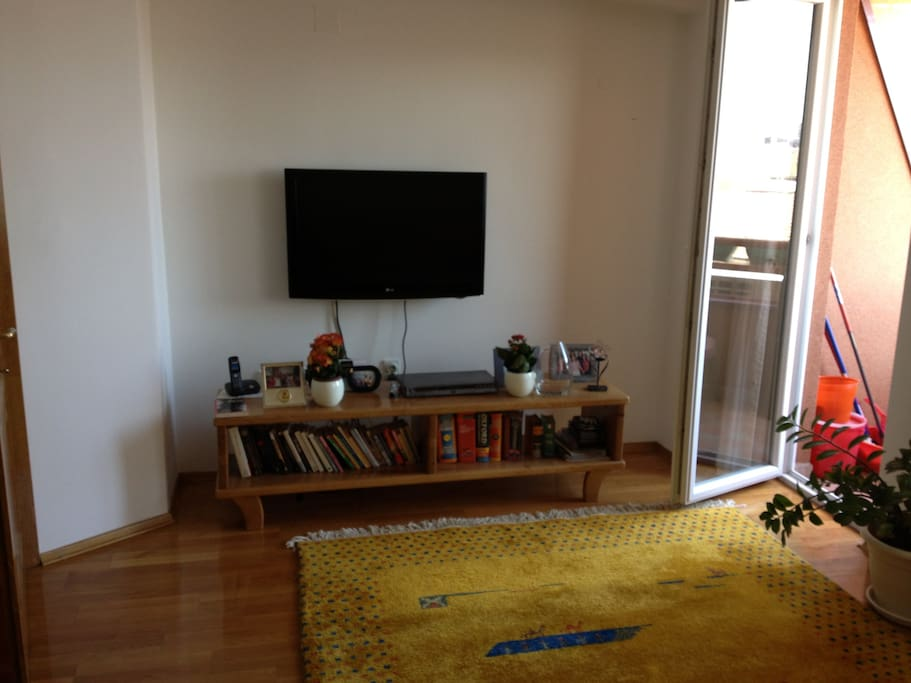 Living room TV with small balcony on the right side