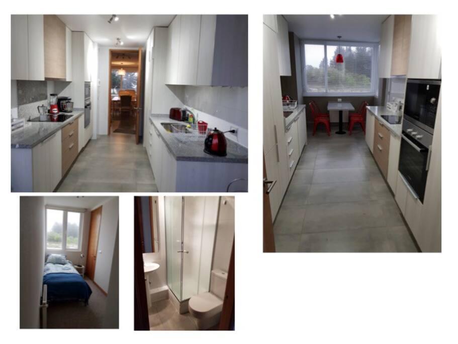 Cocina y dormitorio individual/servicio