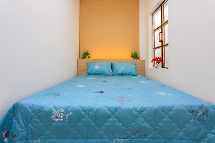 Your room with natural light, queen size bed, working desk, wardrobe, private fridge, private bathroom , clean beddings and towel