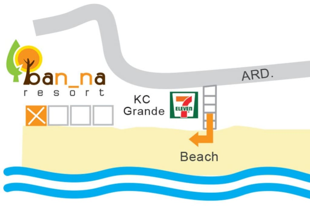you take taxi to 7-11 KC and only walk on beach to my bungalow 300m