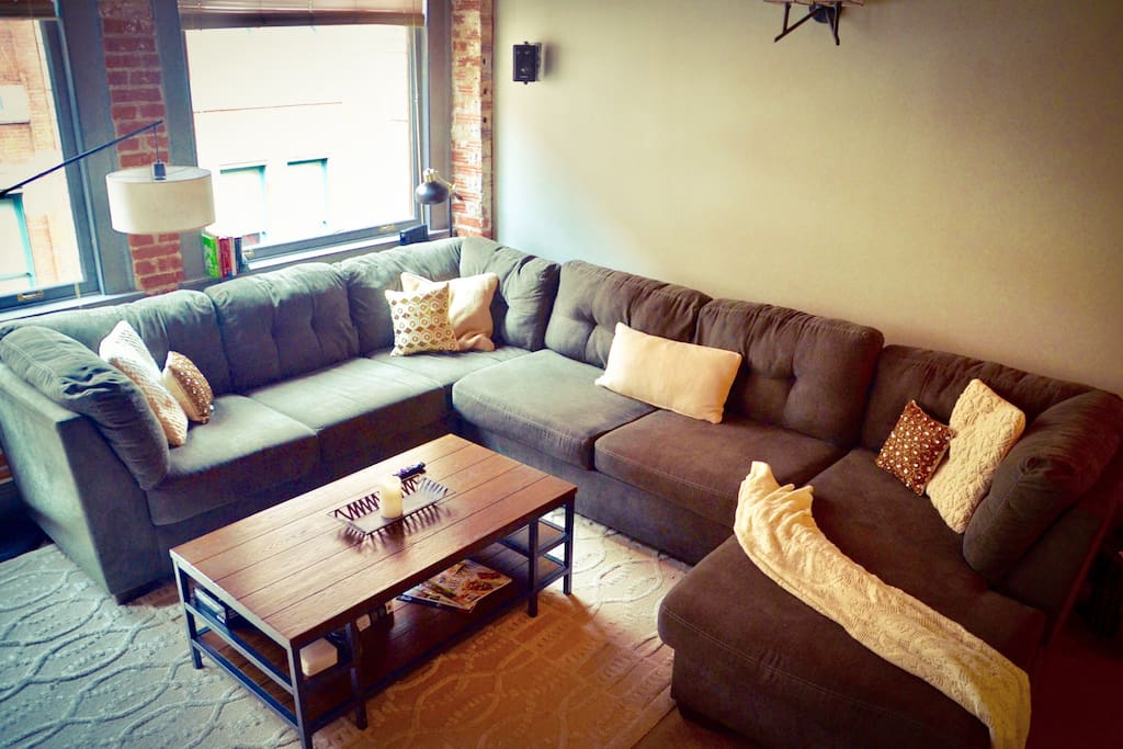 Extremely large sectional. Perfect for accommodated any number of guests comfortably.